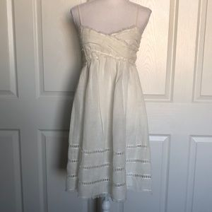 Linen white summer cami dress size S NWT